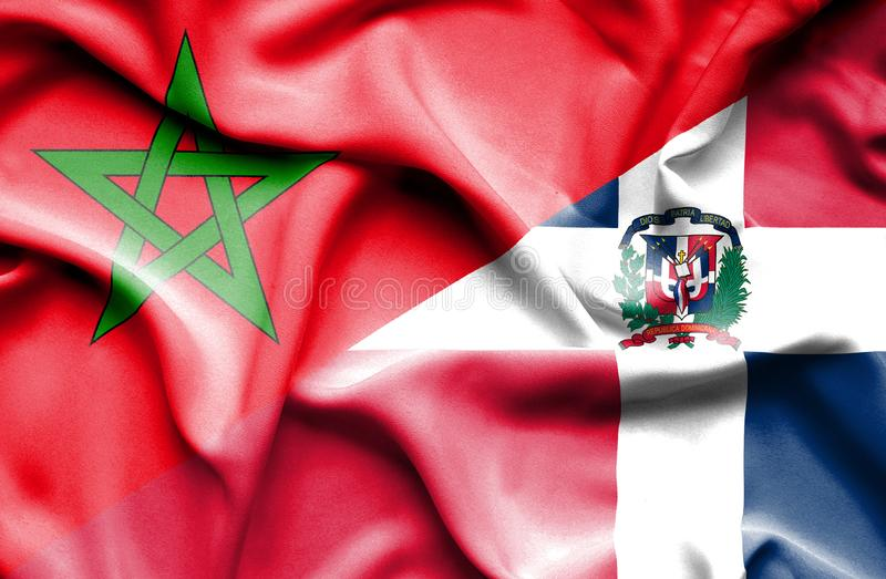 Wellenartig bewegende Flagge von Dominikanischer Republik und von Marokko stock abbildung