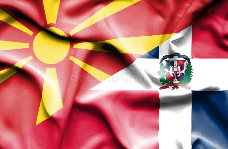Wellenartig bewegende Flagge von Dominikanischer Republik und von Mazedonien lizenzfreie abbildung