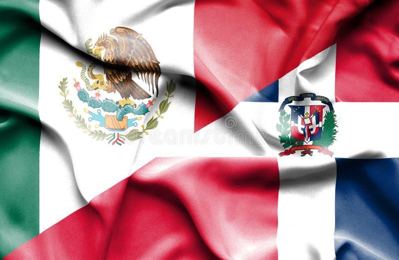 Wellenartig bewegende Flagge von Dominikanischer Republik und von Mexiko vektor abbildung