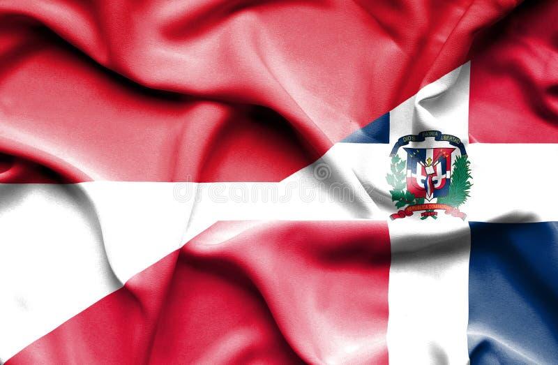 Wellenartig bewegende Flagge von Dominikanischer Republik und von Monaco lizenzfreie abbildung