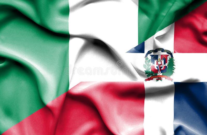 Wellenartig bewegende Flagge von Dominikanischer Republik und von Nigeria vektor abbildung