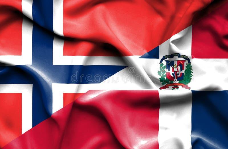 Wellenartig bewegende Flagge von Dominikanischer Republik und von Norwegen vektor abbildung