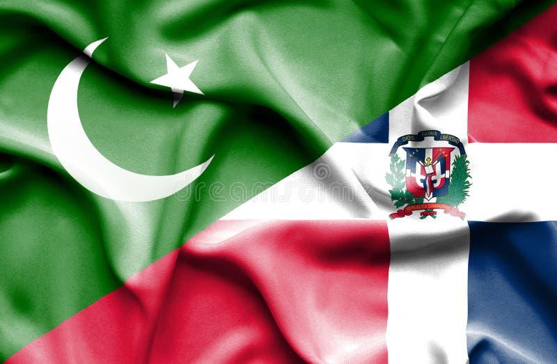 Wellenartig bewegende Flagge von Dominikanischer Republik und von Pakistan stock abbildung