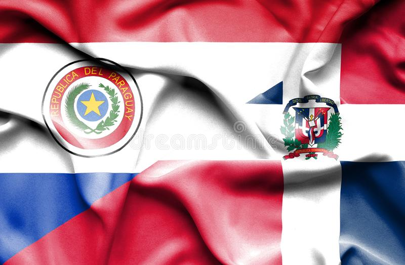 Wellenartig bewegende Flagge von Dominikanischer Republik und von Paraguay lizenzfreie abbildung