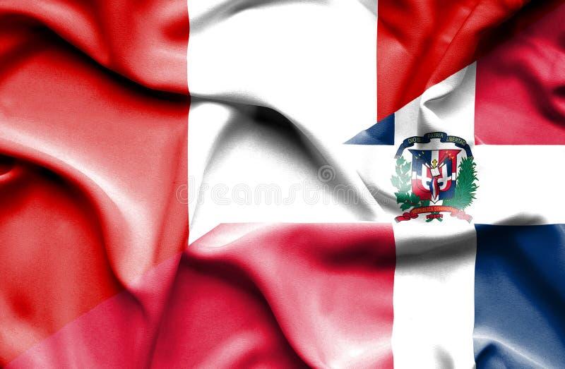 Wellenartig bewegende Flagge von Dominikanischer Republik und von Peru stock abbildung