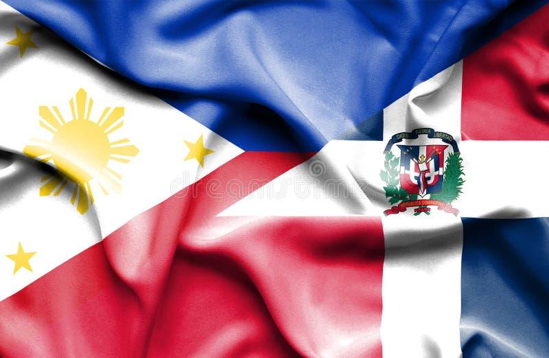 Wellenartig bewegende Flagge von Dominikanischer Republik und von Philippinen stock abbildung