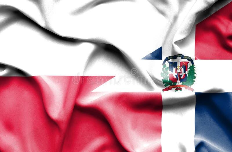 Wellenartig bewegende Flagge von Dominikanischer Republik und von Polen stock abbildung