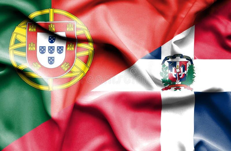 Wellenartig bewegende Flagge von Dominikanischer Republik und von Portugal stock abbildung