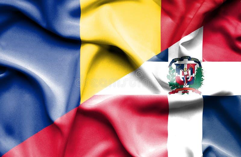 Wellenartig bewegende Flagge von Dominikanischer Republik und von Rumänien lizenzfreie abbildung