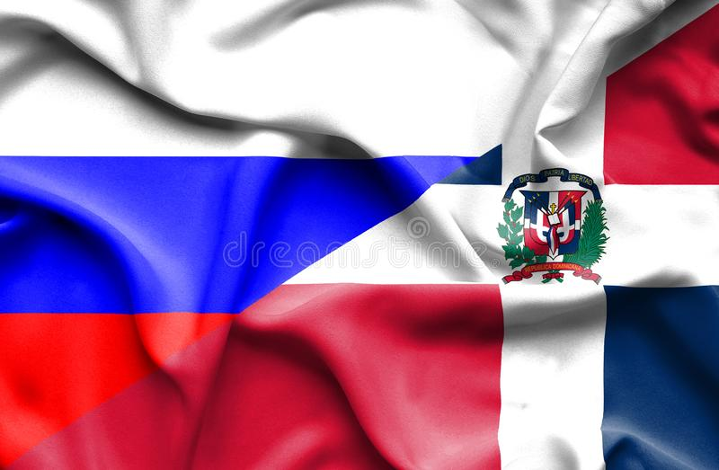 Wellenartig bewegende Flagge von Dominikanischer Republik und von Russland stock abbildung