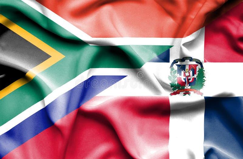 Wellenartig bewegende Flagge von Dominikanischer Republik und von Südafrika vektor abbildung