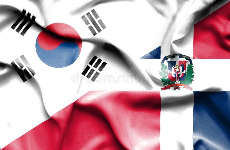 Wellenartig bewegende Flagge von Dominikanischer Republik und von Südkorea lizenzfreie abbildung