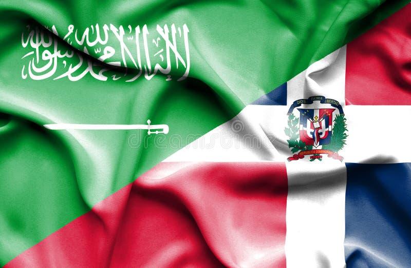 Wellenartig bewegende Flagge von Dominikanischer Republik und von Saudi-Arabien lizenzfreie abbildung
