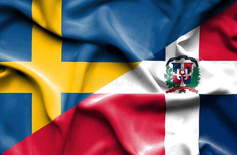 Wellenartig bewegende Flagge von Dominikanischer Republik und von Schweden stock abbildung