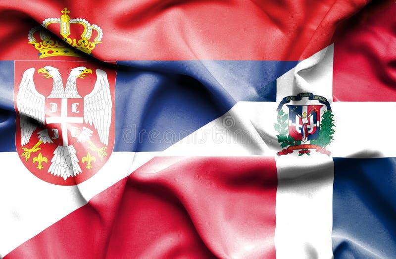 Wellenartig bewegende Flagge von Dominikanischer Republik und von Serbien stock abbildung