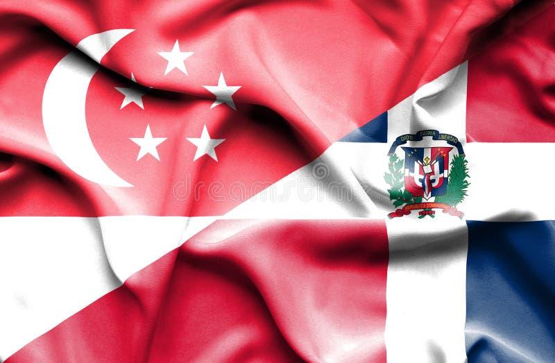 Wellenartig bewegende Flagge von Dominikanischer Republik und von Singapur lizenzfreie abbildung