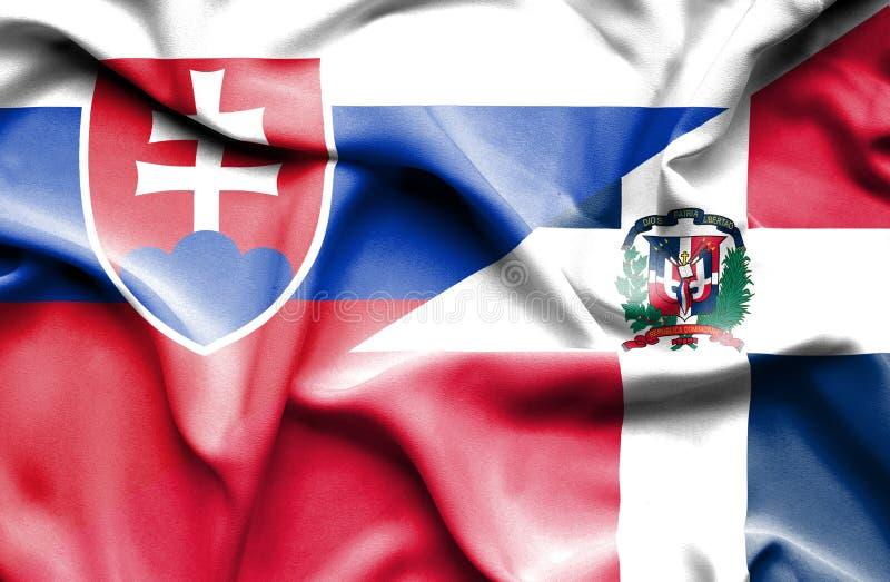 Wellenartig bewegende Flagge von Dominikanischer Republik und slowakisch vektor abbildung