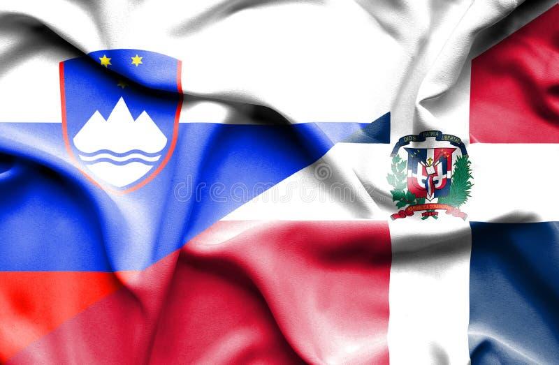 Wellenartig bewegende Flagge von Dominikanischer Republik und von Slowenien stock abbildung