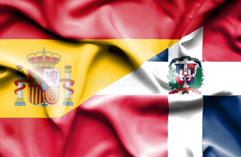 Wellenartig bewegende Flagge von Dominikanischer Republik und von Spanien vektor abbildung