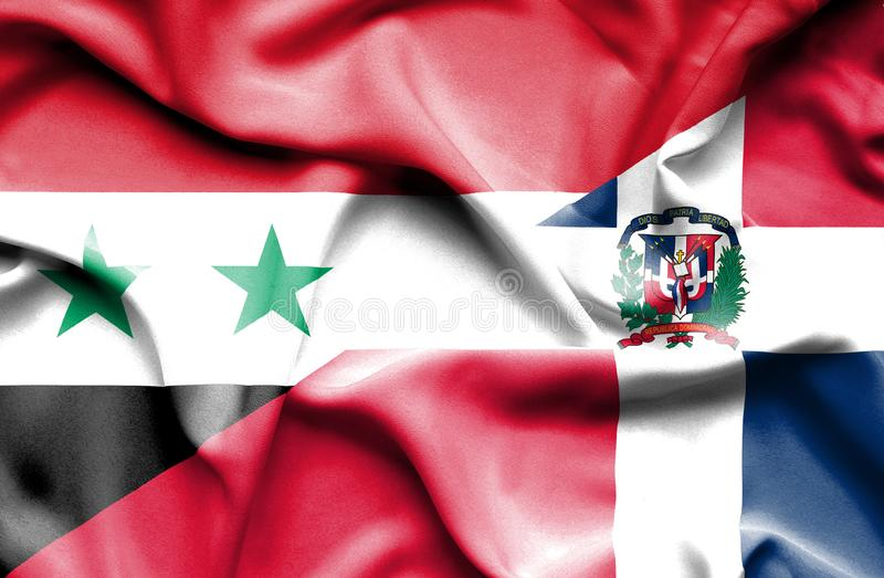 Wellenartig bewegende Flagge von Dominikanischer Republik und von Syrien vektor abbildung
