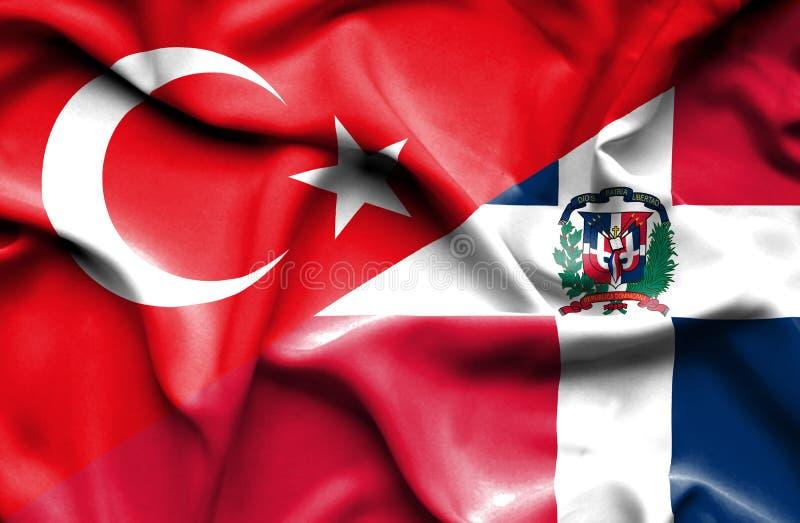 Wellenartig bewegende Flagge von Dominikanischer Republik und von Türkei vektor abbildung