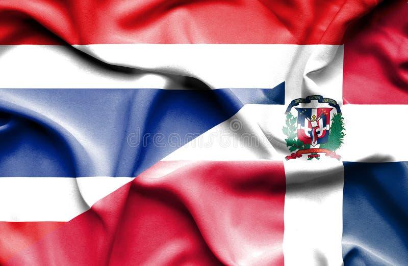 Wellenartig bewegende Flagge von Dominikanischer Republik und von Thailand stock abbildung
