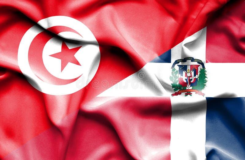 Wellenartig bewegende Flagge von Dominikanischer Republik und von Tunesien stock abbildung