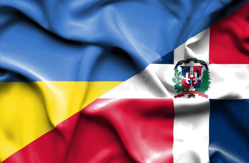 Wellenartig bewegende Flagge von Dominikanischer Republik und von Ukraine vektor abbildung