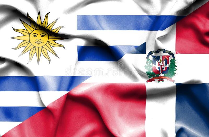 Wellenartig bewegende Flagge von Dominikanischer Republik und von Uruguay stock abbildung