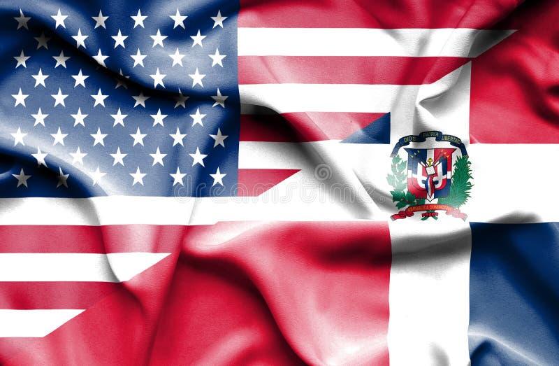 Wellenartig bewegende Flagge von Dominikanischer Republik und von USA vektor abbildung
