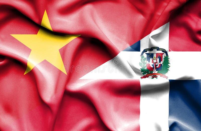 Wellenartig bewegende Flagge von Dominikanischer Republik und von Vietnam stock abbildung