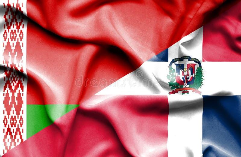 Wellenartig bewegende Flagge von Dominikanischer Republik und von Weißrussland lizenzfreie abbildung