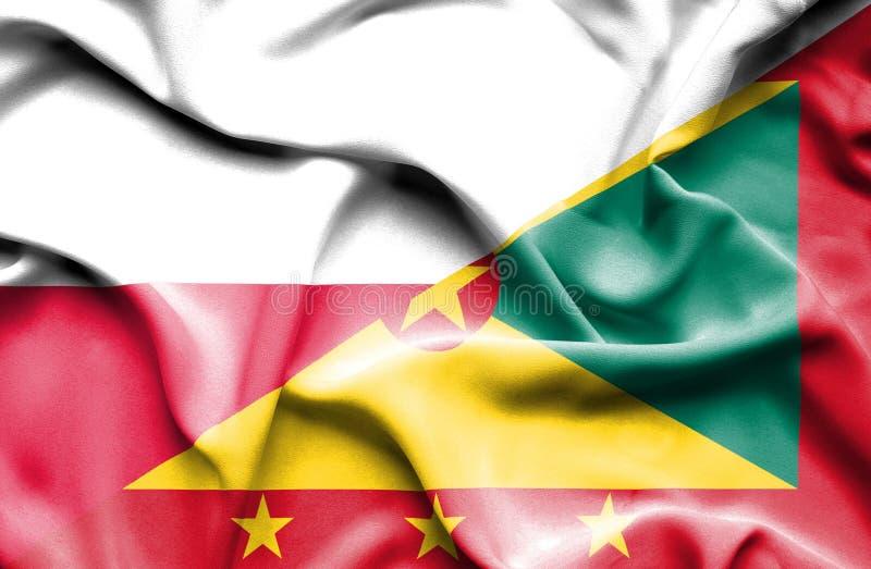 Wellenartig bewegende Flagge von Guernsey und von Polen lizenzfreie abbildung