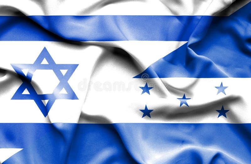 Wellenartig bewegende Flagge von Honduras und von Israel stock abbildung