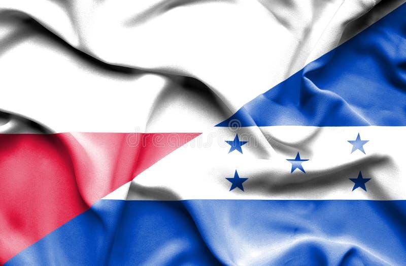 Wellenartig bewegende Flagge von Honduras und von Polen vektor abbildung