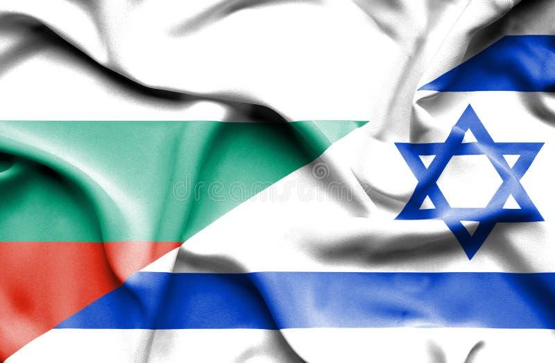 Wellenartig bewegende Flagge von Israel und von Bulgarien stock abbildung
