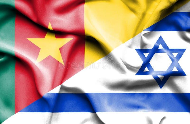 Wellenartig bewegende Flagge von Israel und von Kamerun lizenzfreie abbildung