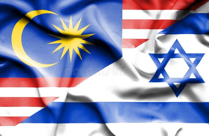 Wellenartig bewegende Flagge von Israel und von Malaysia stock abbildung