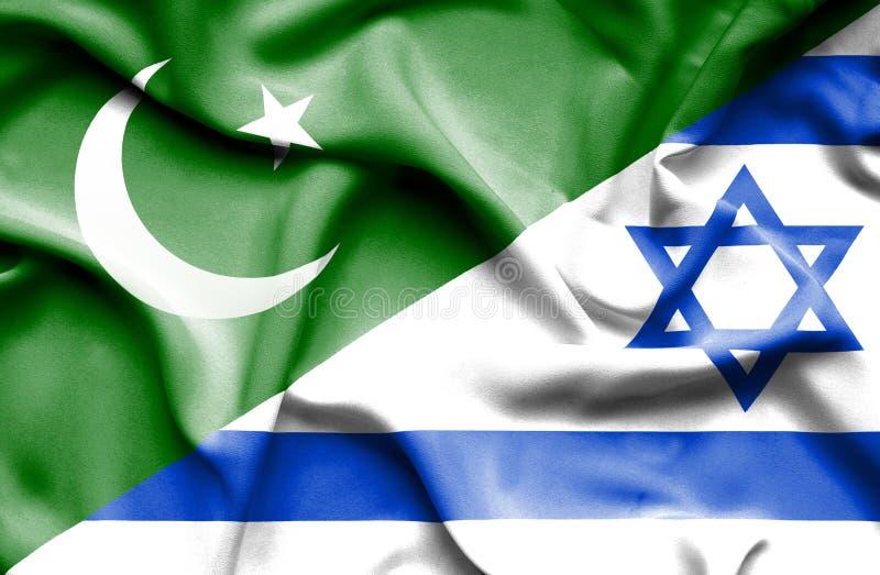 Wellenartig bewegende Flagge von Israel und von Pakistan stock abbildung