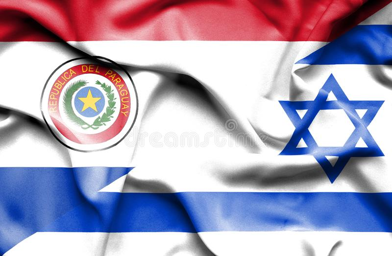 Wellenartig bewegende Flagge von Israel und von Paraguay stock abbildung