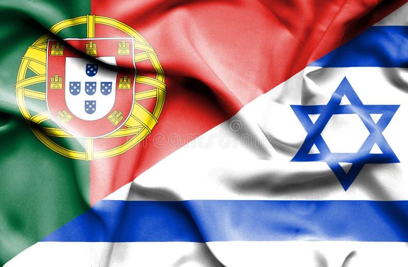 Wellenartig bewegende Flagge von Israel und von Portugal lizenzfreie abbildung