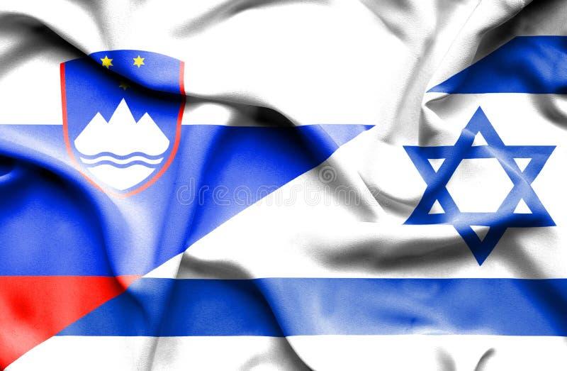Wellenartig bewegende Flagge von Israel und von Slowenien lizenzfreie abbildung