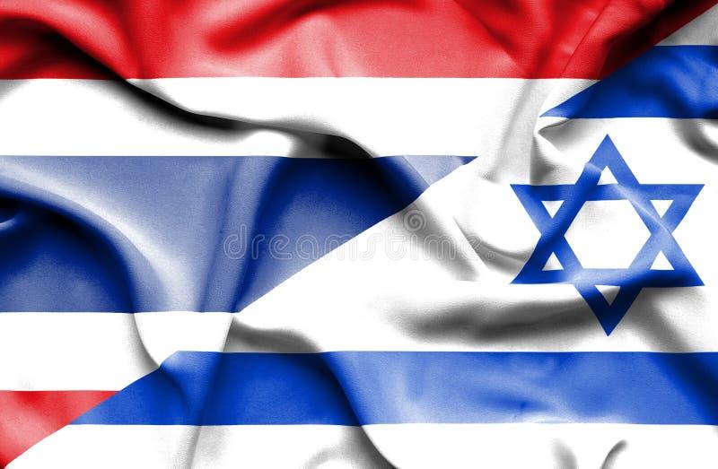 Wellenartig bewegende Flagge von Israel und von Thailand stock abbildung