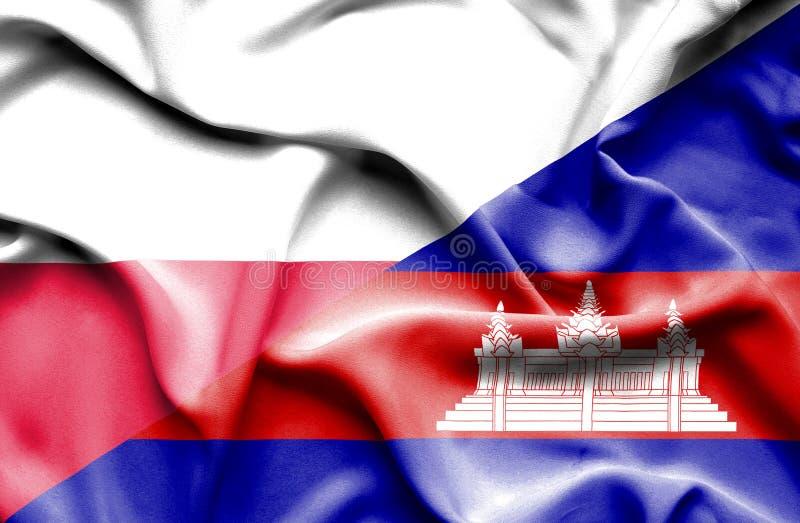 Wellenartig bewegende Flagge von Kambodscha und von Polen lizenzfreie abbildung