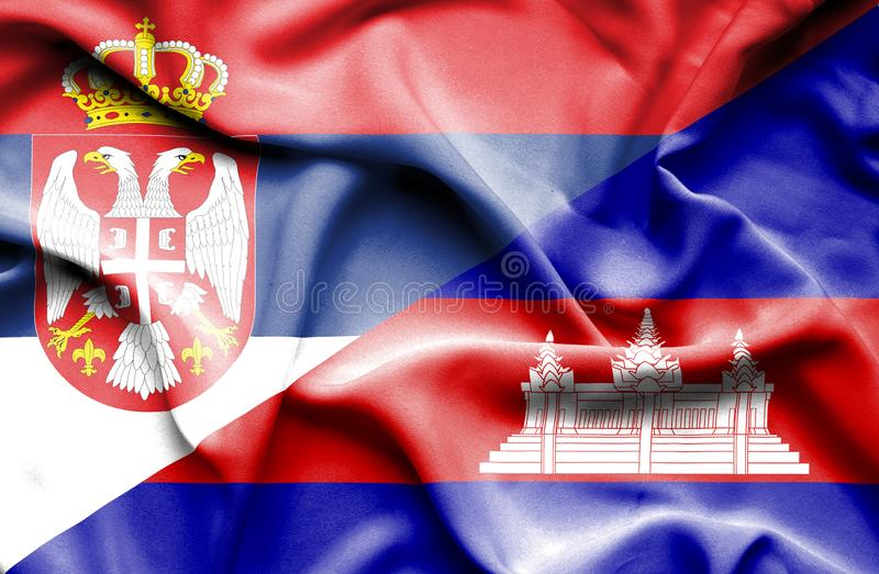 Wellenartig bewegende Flagge von Kambodscha und von Serbien stock abbildung