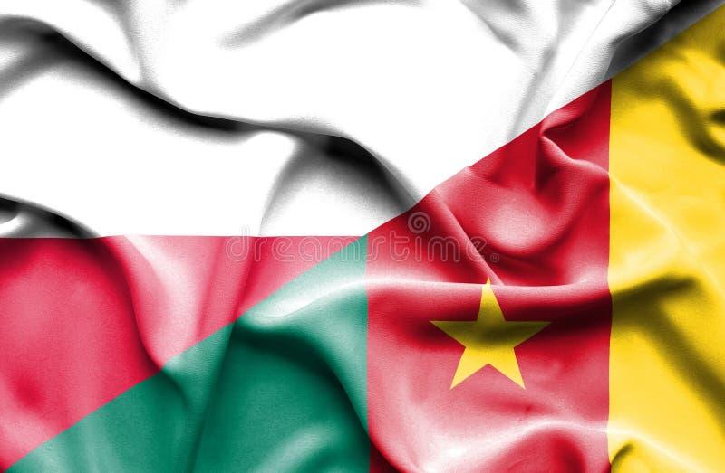 Wellenartig bewegende Flagge von Kamerun und von Polen lizenzfreie abbildung