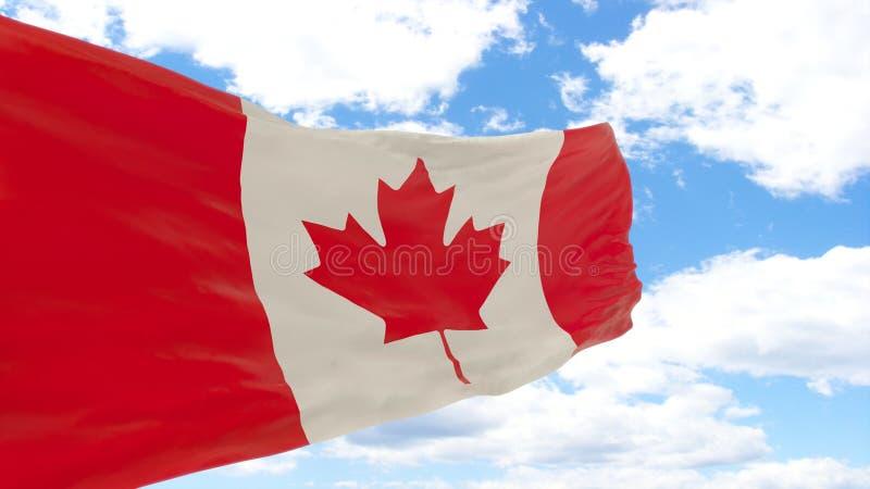 Wellenartig bewegende Flagge von Kanada auf blauem bewölktem Himmel stockbild