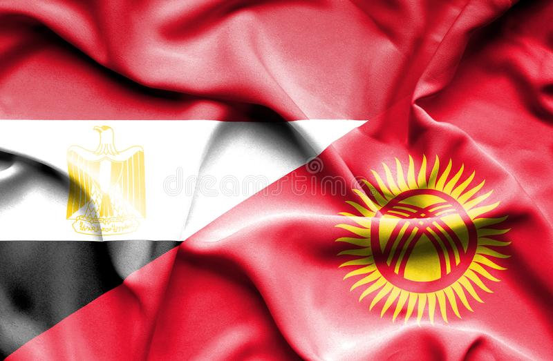 Wellenartig bewegende Flagge von Kirgisistan und von Ägypten stockbilder