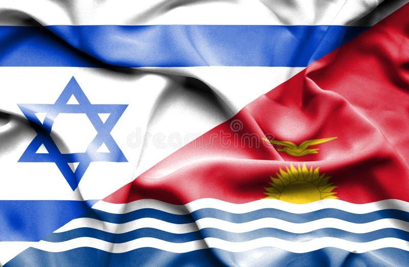 Wellenartig bewegende Flagge von Kiribati und von Israel stock abbildung