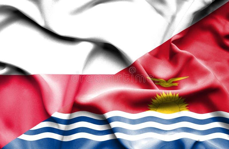 Wellenartig bewegende Flagge von Kiribati und von Polen stock abbildung